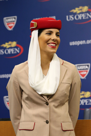 billie: NEW YORK - AUGUST 29, 2015: Emirates Airline flight attendants at the Billie Jean King National Tennis Center during US Open 2015 in New York