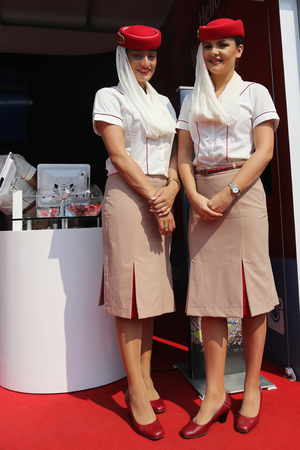 NEW YORK - SEPTEMBER 3, 2015: Emirates Airline flight attendants at the Billie Jean King National Tennis Center during US Open 2015 in New York