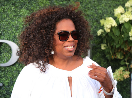 NEW YORK - SEPTEMBER 8, 2015: Oprah Winfrey attends US Open 2015 tennis match between Serena and Venus Williams at USTA Billie Jean King National Tennis Center in New York