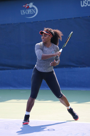 twenty one: NEW YORK - AUGUST 30, 2015: Twenty one times Grand Slam champion Serena Williams practices for US Open 2015 at National Tennis Center in New York