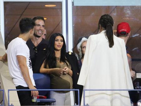 williams: NEW YORK - SEPTEMBER 8, 2015: Kim Kardashian attends US Open 2015 tennis match between Serena and Venus Williams at USTA Billie Jean King National Tennis Center in New York