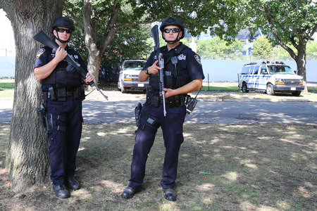 counter terrorism: NEW YORK - SEPTEMBER 13, 2015: NYPD counter terrorism officers providing security at National Tennis Center during US Open 2015 in New York