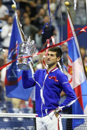 grand slam: NEW YORK - SEPTEMBER 14, 2015: Ten times Grand Slam champion Novak Djokovic during trophy presentation after men s final match at US OPEN 2015 at Billie Jean King National Tennis Center in New York Editorial