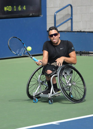 atp: NEW YORK - SEPTEMBER 13, 2015: Tennis player Dylan Alcott of Australiain action during his Wheelchair Quad Singles final match at US OPEN 2015 at Billie Jean King National Tennis Center in NY