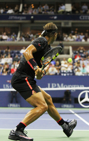 champion spain: NEW YORK - SEPTEMBER 4, 2015: Fourteen times Grand Slam Champion Rafael Nadal of Spain during his match at US Open 2015 at Billie Jean King National Tennis Center in New York Editorial