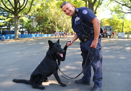 NEW YORK - SEPTEMBER 5, 2015: NYPD transit bureau K-9 police officer and German Shepherd K-9 providing security at National Tennis Center during US Open 2015 in New York