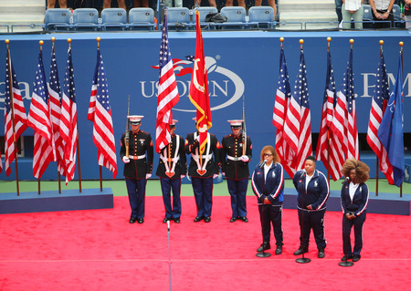 billie: NEW YORK - SEPTEMBER 12, 2015 The Color Guard of the US Marine Corps during the opening ceremony of the US Open 2015 women s final at Billie Jean King National Tennis Center in New York Editorial