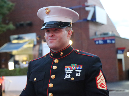 unfurling: NEW YORK- SEPTEMBER 13, 2015:  United States Marine Corps officer at Billie Jean King National Tennis Center before unfurling the American flag prior US Open 2015 men s final in New York