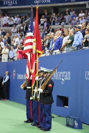 us open: NEW YORK - SEPTEMBER 13, 2015 The Color Guard of the US Marine Corps during the opening ceremony of the US Open 2015 men s final at Billie Jean King National Tennis Center in New York Editorial