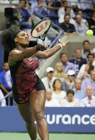 NEW YORK - SEPTEMBER 8, 2015: Twenty one times Grand Slam champion Serena Williams in action during her quarterfinal match against Venus Williams at US Open 2015 at National Tennis Center in New York Editorial
