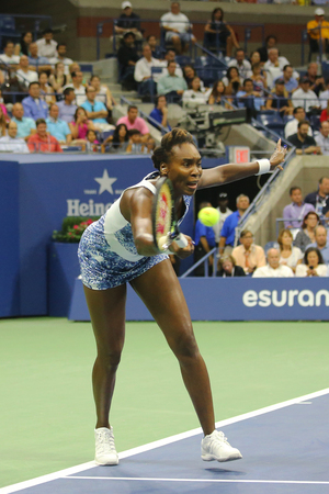 williams: NEW YORK - SEPTEMBER 8, 2015: Grand Slam champion Venus Williams in action during her quarterfinal match against Serena Williams at US Open 2015 at National Tennis Center in New York Editorial