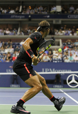 nadal: NEW YORK - SEPTEMBER 4, 2015: Fourteen times Grand Slam Champion Rafael Nadal of Spain during his match at US Open 2015 at Billie Jean King National Tennis Center in New York Editorial