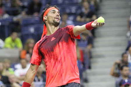 atp: NEW YORK - SEPTEMBER 4, 2015:Professional tennis player Fabio Fognini of Italy during his match at US Open 2015 at Billie Jean King National Tennis Center in New York