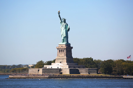 liberty torch: NEW YORK - SEPTEMBER 24, 2015: The Statue of Liberty in New York Harbor