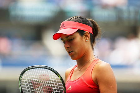 grand hard: NEW YORK - AUGUST 31, 2015: Grand Slam Champion Ana Ivanovic of Serbia in action during her first round match at US Open 2015 at Billie Jean King National Tennis Center in New York Editorial