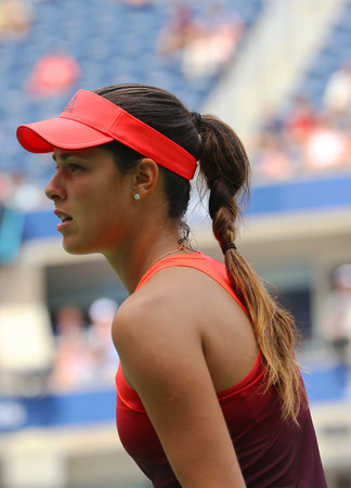 billie: NEW YORK - AUGUST 31, 2015: Grand Slam Champion Ana Ivanovic of Serbia in action during her first round match at US Open 2015 at Billie Jean King National Tennis Center in New York Editorial