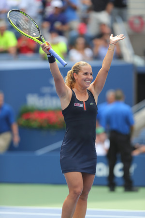 billie: NEW YORK - AUGUST 31, 2015: Professional tennis player Dominika Cibulkova of Slovakia celebrates victory after first round match at US Open 2015 at Billie Jean King National Tennis Center in New York