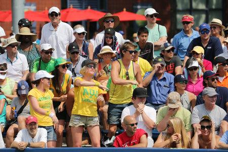 billie: NEW YORK - SEPTEMBER 1, 2015: Australian tennis fans at Billie Jean King National Tennis Center during  US Open 2015 in New York
