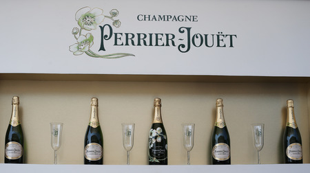 us open: NEW YORK - SEPTEMBER 1, 2015: Perrier-Jouet champagne presented at the National Tennis Center during US Open 2015 in New York