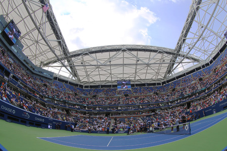 center court: NEW YORK - SEPTEMBER 1, 2015: Tennis court at the Billie Jean King National Tennis Center during US Open 2015 tournament in Flushing, NY