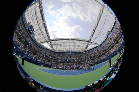 NEW YORK - SEPTEMBER 1, 2015: Tennis court at the Billie Jean King National Tennis Center during US Open 2015 tournament in Flushing, NY