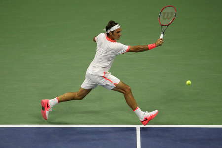 NEW YORK - SEPTEMBER 7, 2015: Seventeen times Grand Slam champion Roger Federer of Switzerland in action during his match at US Open 2015 at National Tennis Center in NY