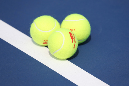 wilson: NEW YORK - SEPTEMBER 1, 2015: US Open Wilson tennis ball at Billie Jean King National Tennis Center in New York. Wilson is the Official Ball of the US Open since 1979