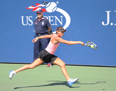 Graham: NEW YORK - SEPTEMBER 7, 2015: Junior tennis player Alexa Graham of United States during match at the Billie Jean King National Tennis Center  in New York