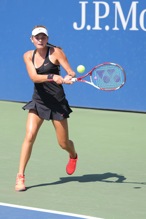 katarina: NEW YORK - SEPTEMBER 7, 2015: Junior tennis player Katarina Zavatska of Ukraine during match at the Billie Jean King National Tennis Center  in New York Editorial