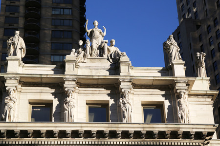 NEW YORK - OCTOBER 6, 2015: Sculptures by Daniel Chester French at the historic Appellate Division Courthouse of New York State building at Madison Square Park in New York