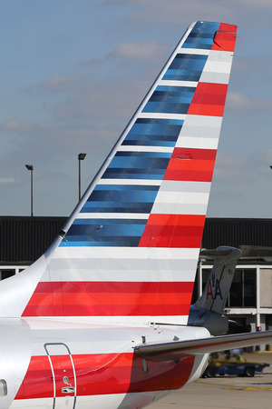 american airlines: CHICAGO - OCTOBER 10, 2015: American Airlines tailfin at OHare International Airport in Chicago