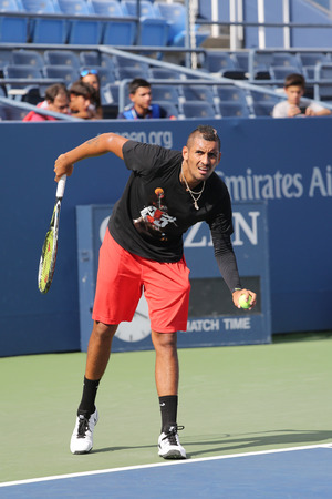 billie: NEW YORK - AUGUST 27, 2015: Professional tennis player Nick Kyrgios of Australia practices for US Open 2015 at Billie Jean King National Tennis Center in New York Editorial