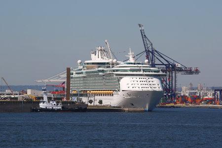 caribbean cruise: BAYONNE, NEW JERSEY - SEPTEMBER 24, 2015: Royal Caribbean Cruise Ship Liberty of the Seas docked at Cape Liberty Cruise Port Editorial