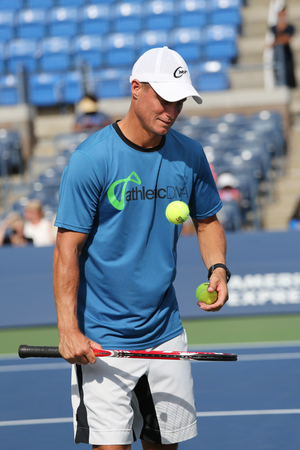 grand slam: NEW YORK - AUGUST 27, 2015:Two times Grand Slam Champion Lleyton Hewitt of Australia practices for US Open 2015 at Billie Jean King National Tennis Center in New York Editorial