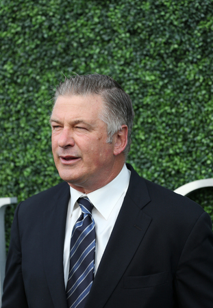 NEW YORK - AUGUST 31, 2015: American actor, producer, and comedian Alec Baldwin at the red carpet before US Open 2015 opening night ceremony at National Tennis Center in New York 新闻类图片