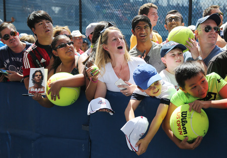 nadal: NEW YORK - AUGUST 27, 2015: Rafael Nadal tennis fans waiting for autographs at Billie Jean King National Tennis Center in New York. US Open is a final Grand Slam tournament of the year