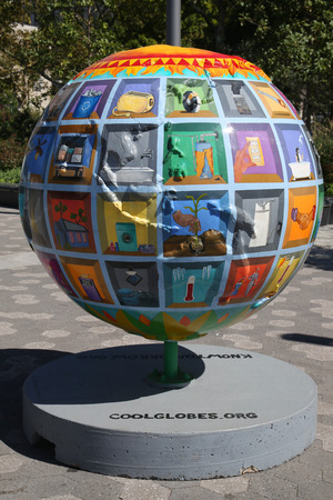 manhattan project: NEW YORK - SEPTEMBER 24, 2015: Cool globes exhibition at Battery Park in Lower Manhattan. It is a public art exhibition designed to raise awareness of solutions to climate change