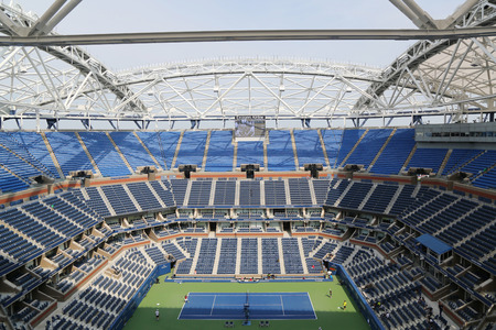 flushing: NEW YORK - AUGUST 30, 2015: Newly Improved Arthur Ashe Stadium at the Billie Jean King National Tennis Center during US Open tournament in Flushing, NY