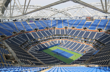 tennis court: NEW YORK - AUGUST 30, 2015: Newly Improved Arthur Ashe Stadium at the Billie Jean King National Tennis Center during US Open tournament in Flushing, NY