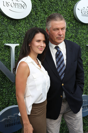 comedian: NEW YORK - AUGUST 31, 2015: American actor, producer, and comedian Alec Baldwin with his wife Hilaria Thomas at the red carpet before US Open 2015 opening night ceremony at Tennis Center in New York