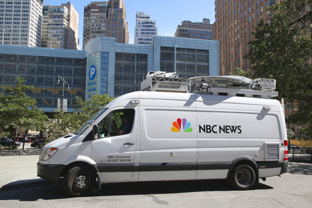 eyewitness: NEW YORK - SEPTEMBER 24, 2015:WNBC Channel 4 van in Manhattan. WNBC is a television station located in New York City and is the flagship station of the television network