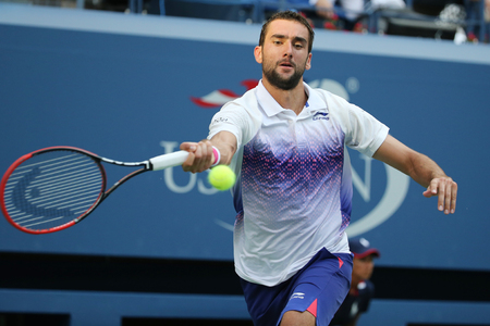 marin: NEW YORK - SEPTEMBER 8, 2015: Grand Slam champion Marin Cilic of Croatia in action during his quarterfinal match at US Open 2015 at National Tennis Center in New York Editorial