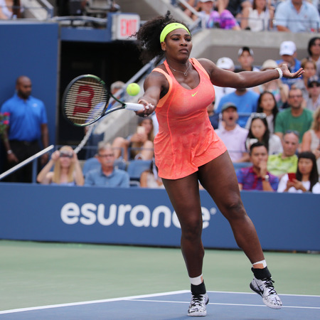 twenty one: NEW YORK - SEPTEMBER 6, 2015: Twenty one times Grand Slam champion Serena Williams in action during her round four match at US Open 2015 at National Tennis Center in New York