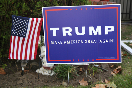 BROOKLYN, NEW YORK - OCTOBER 20, 2015: A lawn sign in support of presidential candidate Donald Trump on display in Brooklyn, New York