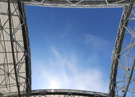 flushing: NEW YORK - SEPTEMBER 6, 2015: Roof at the newly Improved Arthur Ashe Stadium at the Billie Jean King National Tennis Center during US Open 2015 tournament in Flushing, NY