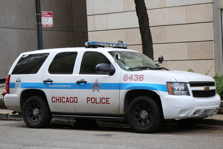 special service agent: CHICAGO, ILLINOIS - OCTOBER 24, 2015: Chicago Police Department car in downtown Chicago
