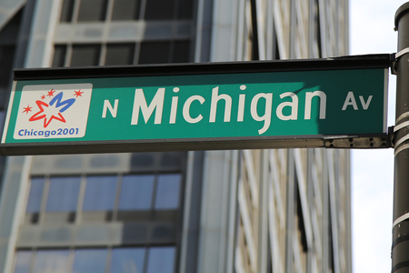 michigan avenue: CHICAGO, ILLINOIS - OCTOBER 24, 2015 :Michigan Avenue street sign in downtown Chicago