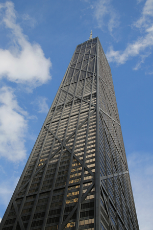 john hancock: CHICAGO, ILLINOIS - OCTOBER 24, 2015: John Hancock Center in downtown Chicago. It is 344 meters 1,127 feet tall and has 100 floors, including an observation deck on the 94th floor