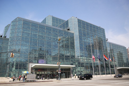 NEW YORK - OCTOBER 22, 2015: Jakob K. Javits Convention Center in Manhattan. The convention center has a total area space of 1,800, 000 square ft and has 840,000 square ft of total exhibit space Redakční