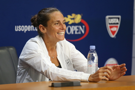racket stadium: NEW YORK - SEPTEMBER 12, 2015: Professional tennis player Roberta Vinci of Italy during press conference after final match at US Open 2015 at National Tennis Center in New York